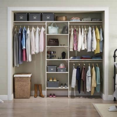 Style+ 84 in. W - 120 in. W Bleached Walnut Wood Closet System