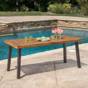 DellaTeak Finish Rectangle Wood Outdoor Dining Table