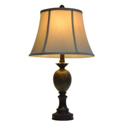 Huntington 25 in. Bronze Table Lamp with Faux Silk Shade