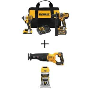20V MAX Cordless Brushless Hammer Drill/Driver Combo Kit (2-Tool) with 20V Recip Saw and 20V Compact Router (Tools-Only)