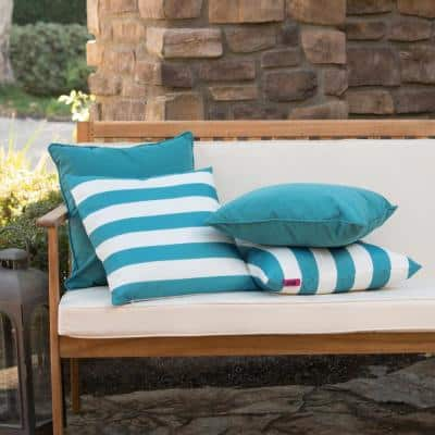 Coronado Teal Solid and Dark Teal and White Striped Rectangle Outdoor Throw Pillow (4-Pack)
