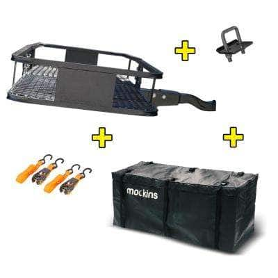 500 lbs. Capacity Hitch Mount Cargo Carrier Set with Folding Shank and 2 in. Raise, Cargo Bag and Ratchet Straps