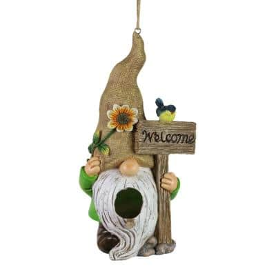 Welcome Gnome Hanging Resin Birdhouse