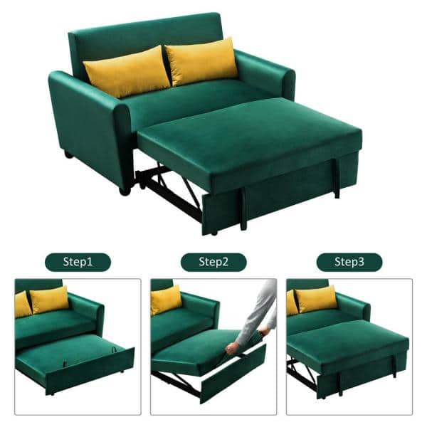 Magic Home 55 In Green Modern Velvet, What Are The Dimensions Of A Full Size Sleeper Sofa