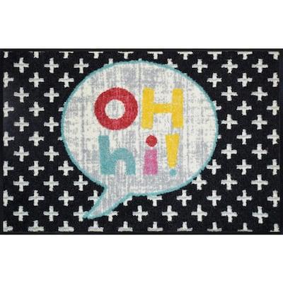 Whimsy Oh Hi 20 in. x 30 in. Nylon Doormat