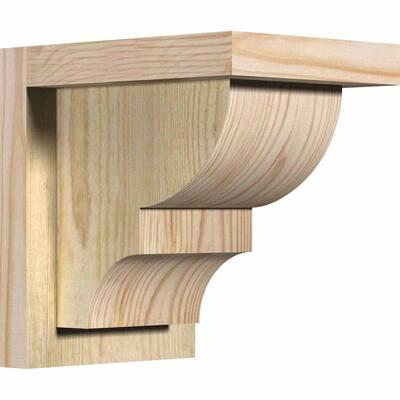 6 in. x 8 in. x 8 in. Douglas Fir Ridgewood Rough Sawn Corbel with Backplate