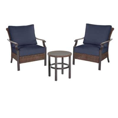 Harper Creek 3-Piece Brown Steel Outdoor Patio Chair Set with CushionGuard Midnight Navy Blue Cushions