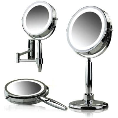 Small Round Polished Chrome Lighted Tilting 3-in-1 Makeup Mirror Set (16.1 in. H x 5.6 in. W)
