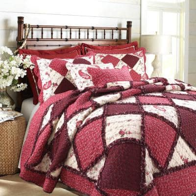 Rich Red Rose Floral Paisley 3-Piece Patchwork Ruffle Scalloped Vintage Farmhouse Cotton King Quilt Bedding Set