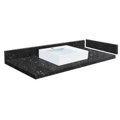 49 in. W x 22.25 in. D Quartz Vessel Vanity Top in Interlude with Single Hole White Basin