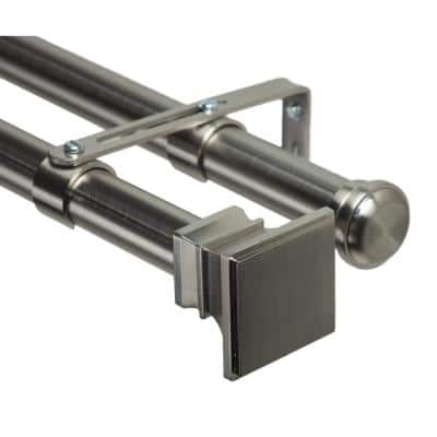 120 in. Non-Adjustable 1-1/8 in. Double Window Curtain Rod Set in Stainless with Versailles Finials