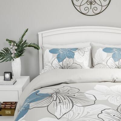 3-Piece Enchanted Floral Design Hypoallergenic Comforter Set