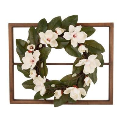24 in. Dia Magnolia Wreath with 28 in. H Wooden Window Frame