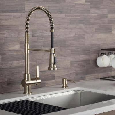 Britt Single-Handle Pull Down Kitchen Faucet with Dual Function Sprayer in Brushed Gold