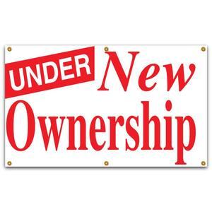 5 ft. x 3 ft. Red on White Vinyl Under New Ownership Banner