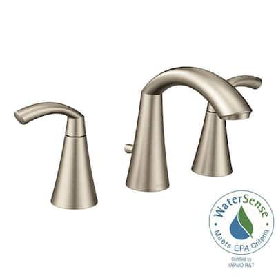 Glyde 8 in. Widespread 2-Handle High-Arc Bathroom Faucet in Brushed Nickel
