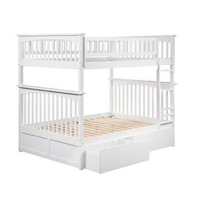 Columbia White Full over Full Bunk Bed with 2 Urban Bed Drawers
