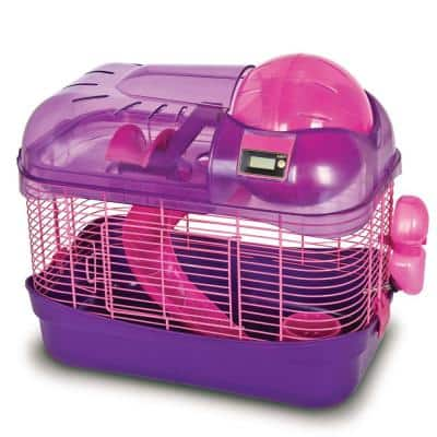 Hamster Cage 16 in. x 9.5 in. x 14.5 in. Purple Spin City Health Club with Cyclometer