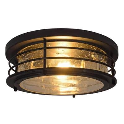 Andover 11 in. Double Bulb Antique Black Drum Ceiling Flush Mount with 2 Edison 6.5-Watt LED Light Bulbs Included