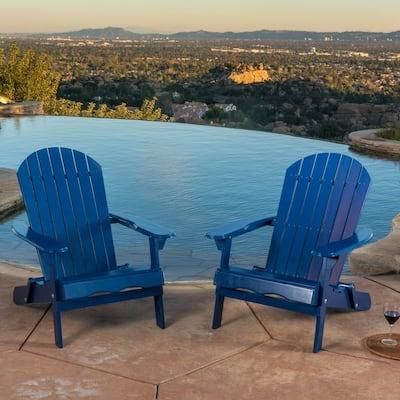 Haylee Navy Blue Reclining Wood Adirondack Chair (2-Pack)
