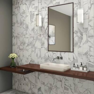 Silhouette Calacatta S44C9 4-1/4 in. x 12-3/4 in. Ceramic Bullnose Wall Tile (7.58 sq. ft. / Case)