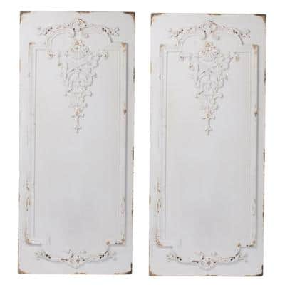 Prasoon White Abstract Wood Wall Panels (Set of 2)