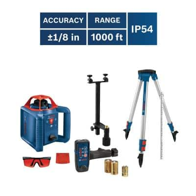 800 ft. Rotary Laser Level Self Leveling Complete Kit with Hard Carrying Case Factory Reconditioned