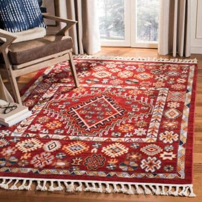 Farmhouse Red/Ivory 5 ft. x 7 ft. Floral Area Rug