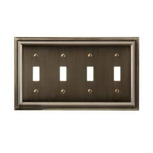 Continental 4 Gang Toggle Metal Wall Plate - Brushed Brass