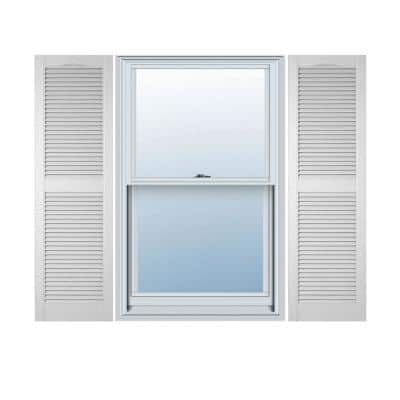15 in. x 31 in. Louvered Vinyl Exterior Shutters Pair in White