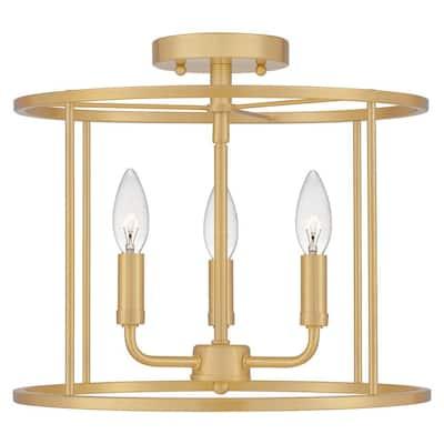 Abner 14 in. 3-Light Aged Brass Semi-Flush Mount