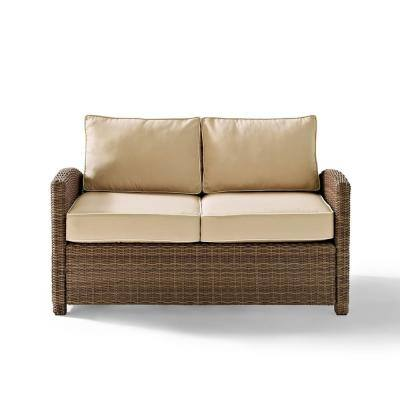 Bradenton Wicker Outdoor Loveseat with Sand Cushions