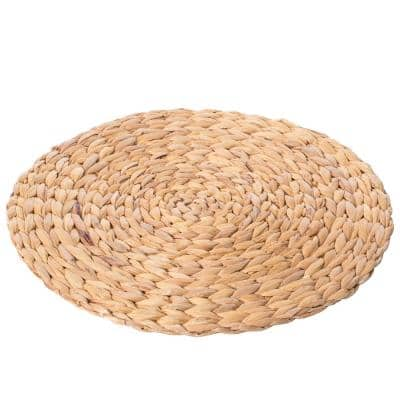 15 in. Brown Decorative Weave Water Hyacinth Round Mat Charger Plates for Dining Table
