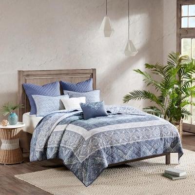Aria 7-Piece Blue King/California King Reversible Cotton Coverlet Set