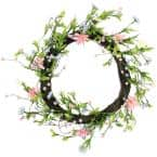 15 in. Unlit Green Pink and Purple Decorative Artificial Spring Floral Twig Wreath
