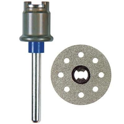 EZ Lock Rotary Tool Mandrel Plus EZ Lock 1-1/2 in. Rotary Tool Diamond Tile Cutting Wheel for Tile and Ceramic Materials