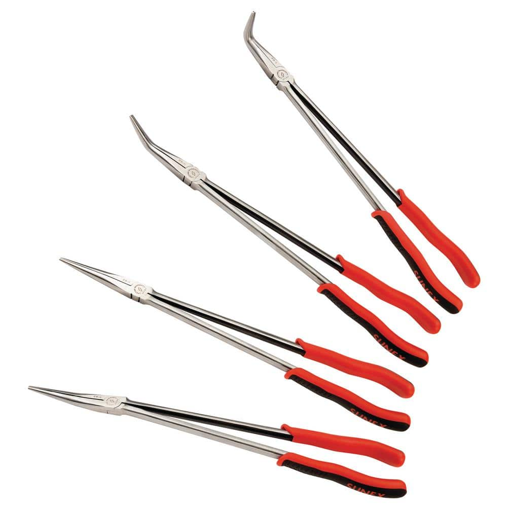 Extra Long Straight Needle Nose Specialty Hand Tool Set Pliers and Bent Tip Head Tools Home Improvements Automotive