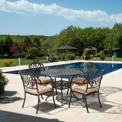 Classic Dark Brown 5-Piece Cast Aluminum Outdoor Dining Set with Round Table and Stackable Chairs khaki Cushions