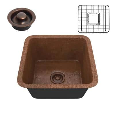 Illyrian Copper 16 in. 0-Hole Single Bowl Drop-In Kitchen Sink in Hammered Antique Copper