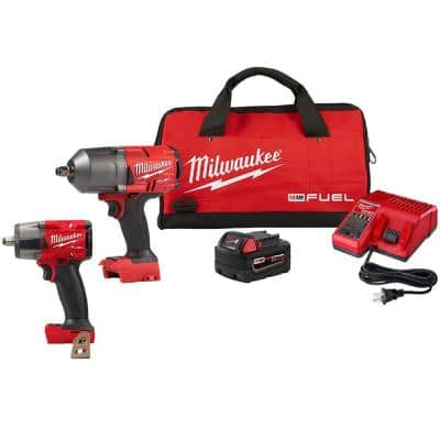 M18 FUEL 18-Volt Lithium-Ion Brushless Cordless 1/2 in. Impact Wrench and Mid Torque I with Friction Ring Kit (2-Tool)