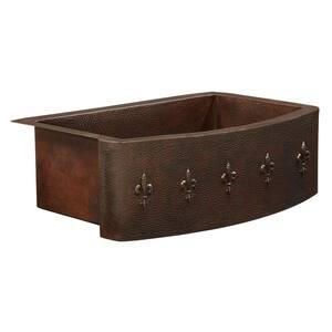 Donatello Farmhouse Apron Front 33 in. Single Bowl Copper Kitchen Sink Bow Front Fluer de lis Design
