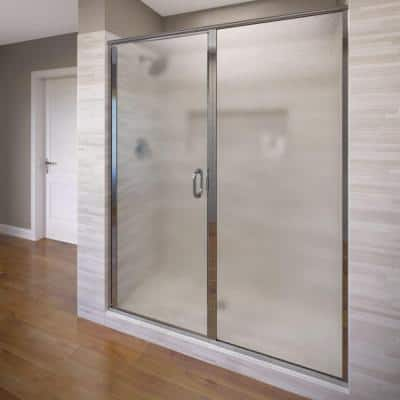 Infinity 47 in. x 76-1/8 in. Semi-Frameless Hinged Shower Door in Chrome with Clear Glass