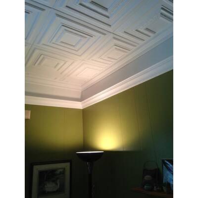 Chesnut Grove 1.6 ft. x 1.6 ft. Glue Up Foam Ceiling Tile in Plain White (21.6 sq. ft./case)