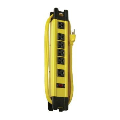 15 ft. 6-Outlet Metal Heavy-Duty Workshop and Transformer Power Strip