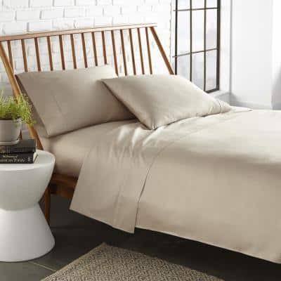 Gabriella 4-Piece Taupe Solid 300-Thread Count Supima Cotton King Sheet Set