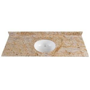 61 in. x 22 in. Stone Effects Vanity Top in Tuscan Sun with White Sink