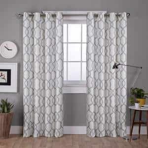Dove Gray Trellis Grommet Room Darkening Curtain - 52 in. W x 84 in. L (Set of 2)