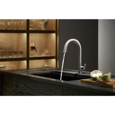 Sensate AC-Powered Touchless Single-Handle Pull-Down Sprayer Kitchen Faucet in Vibrant Stainless with Black Accents