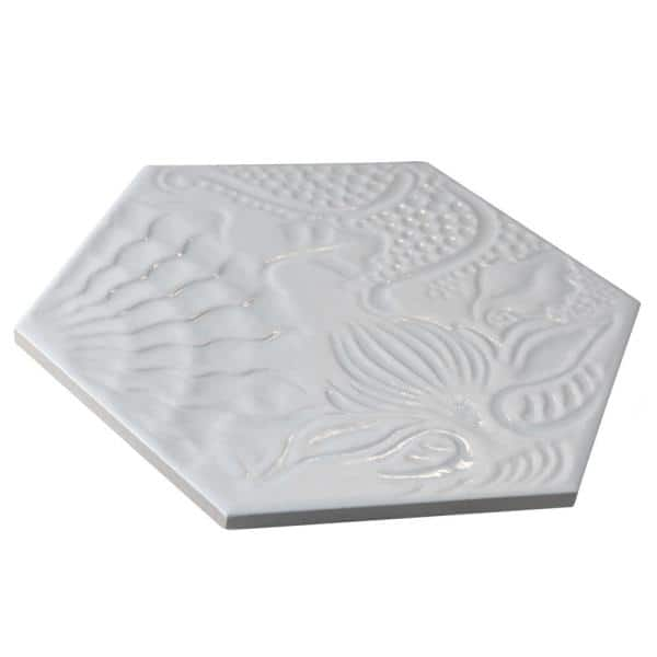 Merola Tile Gaudi Lux Hex White 8 5 8 In X 9 7 8 In Porcelain Floor And Wall Tile 11 56 Sq Ft Case Fcd10glwx The Home Depot