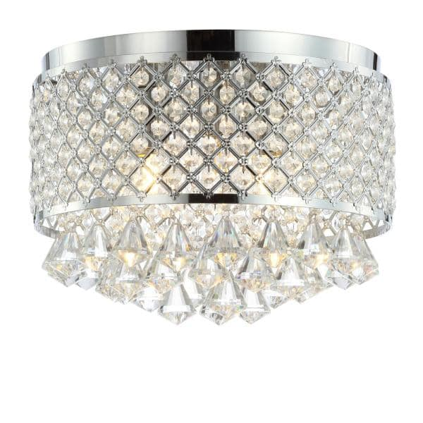 Jonathan Y Evelyn 14 7 In 3 Light Crystal Drops Metal Led Flush Mount Chrome Jyl6145a The Home Depot